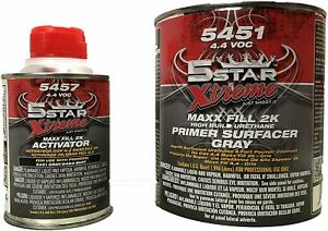 5 Star 2K High Build GRAY Urethane Primer w/Activator Yellow, Gray, Gallon Kit