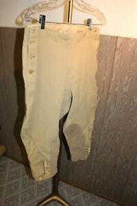 VTG 30s SIDE BUTTON KNICKERS JODHPURS MUSTARD YELLOW TEXTURED COTTON NARDI 32W