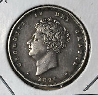 1826 Great Britain 1 Shilling King George IV Silver Coin VF/XF Condition