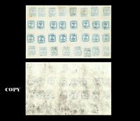 ROMANIA 1858,- 40 PARALE BLUE, LARGE SHEET,PANE OF 32,$120000,COPY