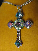 MARIANA CROSS NECKLACE PENDANT SWAROVSKI CRYSTALS FLOWER CHAIN Multi Color Gift