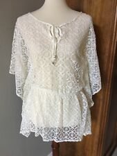 LUCY LOVE Boho Ivory Lace Sheer Coverup Poncho Top Womens Size XS