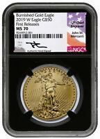2019 W 1 oz Burnished Gold Eagle $50 NGC MS70 FR Blk Mercanti Label SKU58294