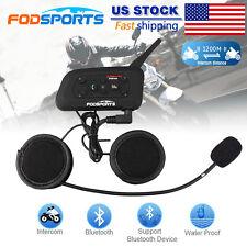 6 Rider pro 1200M BT Motorcycle Interphone Bluetooth Helmet Intercom Headset US