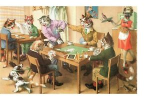 Postcard Cats Playing Cards Alfred Mainzer 4983