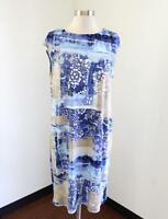 Chico's Blue Tan Floral Burnout Print Shift Dress Chicos Size 1 Casual Abstract