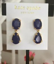 Kate Spade PLAZA ATHENEE DEEP RICH SAPPHIRE BLUE FACETED DROP EARRINGS GOLD