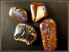 A set of 4 Australian Natural Koroit Boulder Opal cabochons, ring sizes,48.25ct.
