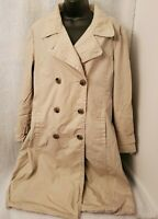 H&M Womens Brown Lined Trench Coat Jacket Size 14
