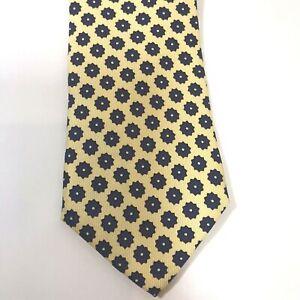 """Lands End Mens Geometric Dot Tie Yellow Blue 100% Silk Sewn USA 3.5""""x57"""""""