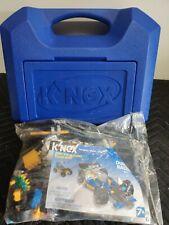 K'Nex Large Blue Box Carrying Case Full W/Bag of K'nex Dueling Racers
