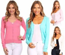 Women's Basic Casual Solid Knit V-Neck Button Down Cardigan with Long Sleeves