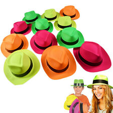 Neon Color Plastic Gangster Hats 24 Pieces Fedora Hat Photo Booth Party Costume