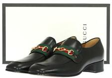 NEW GUCCI BLACK LEATHER HORSEBIT INTERLOCKING LOAFERS SHOES 10/US 10.5