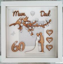 Personalised 60th Diamond wedding anniversary 3D gift frame mum and dad