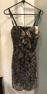 Guess Los Angele Blk/Pink Ruffle Cocktail Dress 7 NWT