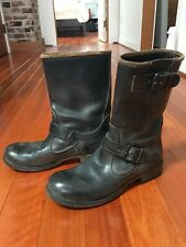 """SIZE 37 Black MOMA Women's Shoes Boots Leather  Italy10"""" Tall"""