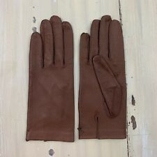 Vintage Leather Gloves - 50s-60s Brown Washable Lines Gloves, Womens Sz 7