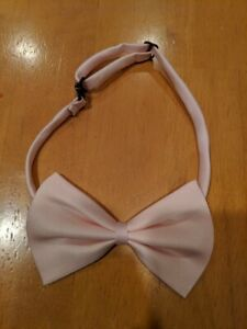 """New w/out Package Adjustable Pink Bow Tie Neck Collar Up To 16.5"""" Silky w/ Clasp"""