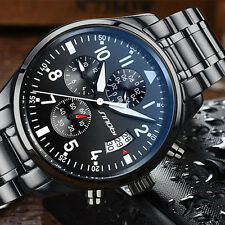 New Men's Pilot Multifunction Chronograph 40mm Watch Full Stainless Steel Watch
