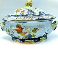 Michael Corzine Large Italian made Tureen With Lid Blue Floral Pattern