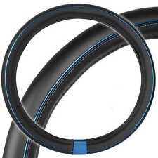Motor Trend Synthetic Leather Steering Wheel Cover Black w/ Blue Metallic Ring