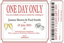 "MODERN RED TICKET STYLE WEDDING  INVITATIONS AND RSVP WITH ENVELOPE 6"" X 4"""