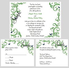 100 Personalized Custom Green Floral Butterfly Bridal Wedding Invitations Set