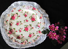 HANDMADE CERAMIC DECORATIVE PLATE MULTI COLORS LACE AND FABRIC FLOWERS GIFT