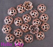 60 pcs Antiqued copper plt Spiral heart bead caps A935
