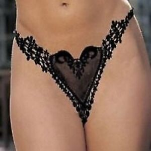 NEW SEXY BLACK LACE HEART SHAPED PANTIES THONG VALENTINES GIFT 8/10  5002