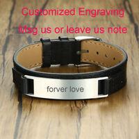 Personalized Men Man ID Name Leather Bracelet Wristband DIY Engraving Adjustable