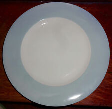 Crate and Barrel Ice Blue Rim White Center Dinner Plate