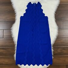 Ted Baker Womens Size 1 / 4 Blue Rickrack Scalloped Rianori Knitted Shift Dress