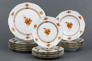 Herend Chinese Bouquet Rust Orange Plate Set for Six People, 18 Pieces