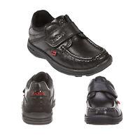 Kickers Junior Boys Reasan Black Leather Adjustable Strap Kids School Shoes