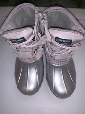 SPERRY TOP-SIDER 8 SILVER TODDLER GIRLS BOOTS