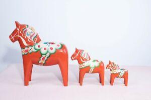 Family Of Three Vintage Swedish Red Hand Painted Nills Olsson Dala Horses
