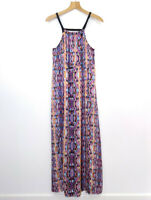PIPER Size 10 Maxi Dress Satin Feel High Front Slits Geometric Print EUC