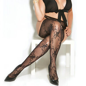 Lace Suspender Pantyhose Crotchless Floral Nylons Hosiery Black 8516 Plus Size