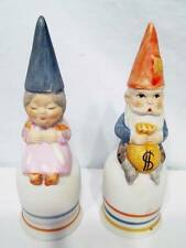 Vintage Gnomes Lot 2 Bisque Finish Porcelain Figurine BELLS Grandpa Grandma