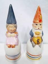 Vintage Gnomes Lot 2 Bisque Finish Porcelain Figurine Bells Grandpa Grandma