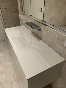 Burgbad Waschtisch WT201, Weiß Brilliant, Mineralguss, 1400 mm, rc40 Solitaire