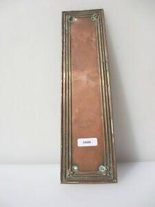 Victorian Copper Door Handle Finger Push Plate Antique Old Reeded Vintage