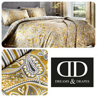 Dreams & Drapes MADURI Yellow Damask Easy Care Pencil Pleat Curtains & Bedding