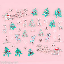 Christmas Nail Art Stickers Decals Transfers Metallic Silver Snowflakes Santa 57