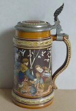 VILLEROY & BOCH METTLACH BIERKRUG NR 1527 C.WARTH UM 1890 HISTORISMUS BEER STEIN