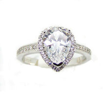 Bling Sterling Silver Butterfly Cutout CUBIC ZIRCONIA Teardrop Engagement Ring