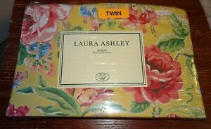 New Laura Ashley Twin Bedskirt Wild Roses Yellow