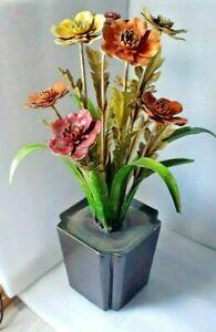 Vintage Metal Field Flower Bouquet in Square Vase MCM Metal Floral